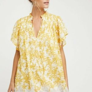 Free People Marigold Printed Floral Lace Dress L